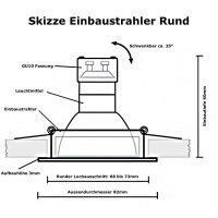 LED Einbaustrahler Timo / 230V / 5W / 400Lumen / Schwenkbar / Rostfrei / EEK A+