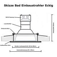 3W LED Bad Einbaustrahler Marin 230 Volt / 90 x 90 mm /...