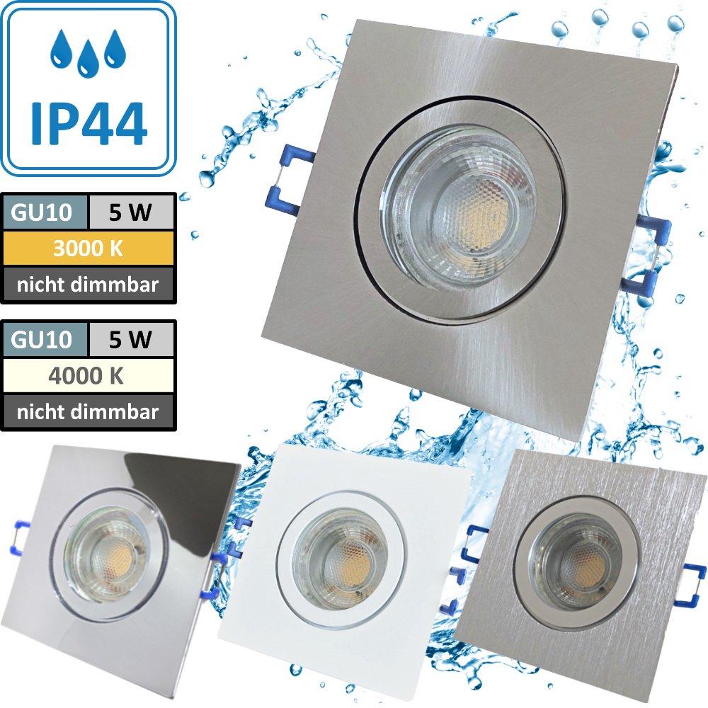 5W LED Bad Einbaustrahler Marin 230 Volt / 90 x 90 mm / IP44 ...
