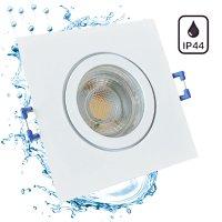 5W LED Bad Einbaustrahler Marin 230 Volt / 90 x 90 mm / IP44 / Quadratisch / 400 Lumen