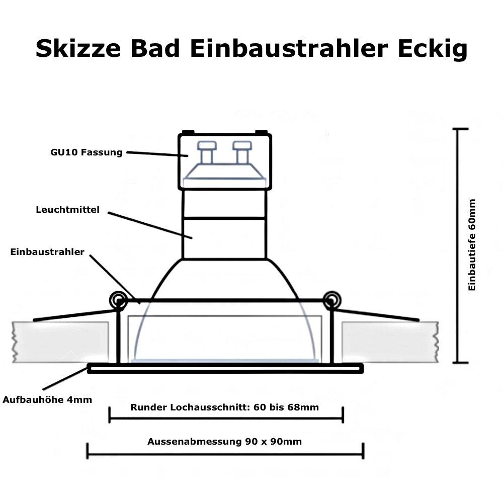 7w led bad einbaustrahler marin 230 volt 90 x 90 mm ip44 quadra 18 50. Black Bedroom Furniture Sets. Home Design Ideas