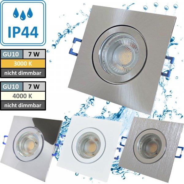 7W LED Bad Einbaustrahler Marin 230 Volt / 90 x 90 mm / IP44 / Quadratisch / 550 Lumen