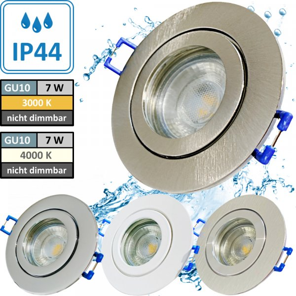 7W LED Bad Einbauleuchte Marina 230 Volt / IP44 / Clipring / 550 Lumen