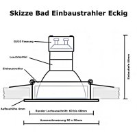 7W LED Bad Einbaustrahler Marin 230 Volt / Dimmbar / IP44...