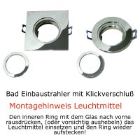 7W LED Bad Einbaustrahler Marin 230 Volt / Dimmbar / IP44 / Clipring / 450 Lumen