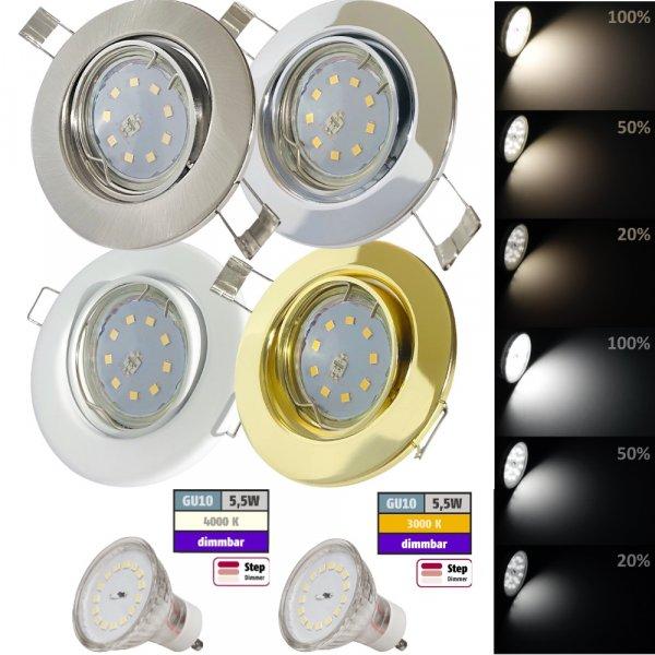 8er Set LED Einbaustrahler Jan 230V GU10 Einbauleuchte 3Watt SMD Power LED