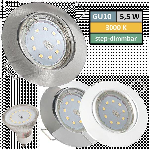 SMD LED Einbauspot Jan / 3 - Stufen Dimmbar per Lichtschalter / 230Volt / 5W