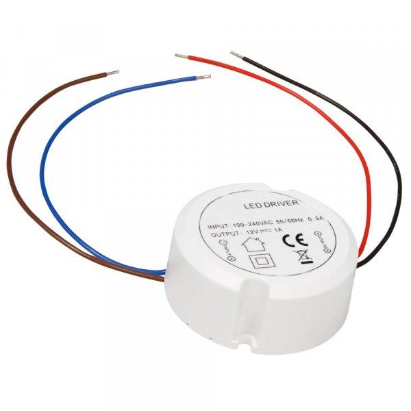 Elektronischer LED Trafo / Treiber / 0.5W -> 12W / 230V~ auf 12V= / Rund ø x H - 55 x 23