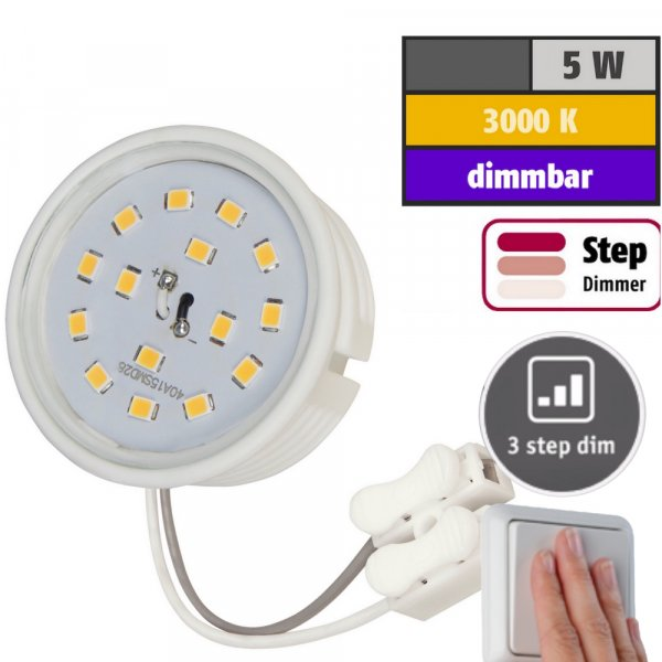 LED-Modul, 5Watt, 400 Lumen, 230Volt, Step dimmbar, Warmweiß, 3000Kelvin