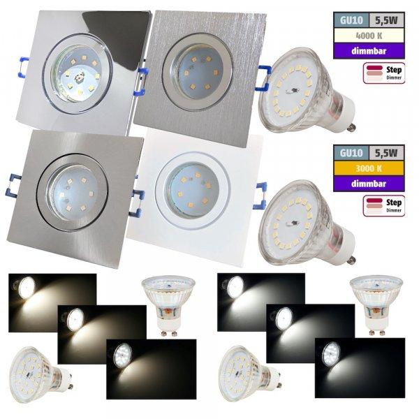 Step Dimmbar / 5W SMD LED Bad Einbauleuchte Marin 230 Volt / IP44 / 400 Lumen