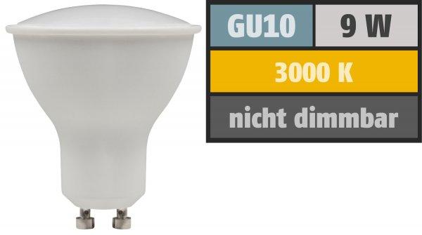 SMD LED Leuchtmittel 230Volt - 9Watt - WARMWEISS 3000Kelvin - 120° Abstrahlwinkel - Sockel Gu10