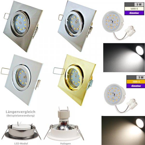 Flacher SMD LED Einbaustrahler Dario / 220Volt / 5Watt / DIMMBAR / ET=32mm
