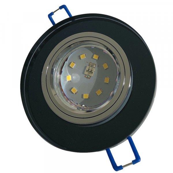 Runde Glas SMD LED Einbauleuchte Laura / 230V / 3W, 5W oder 7Watt / Schwarz