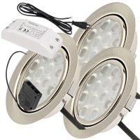 3er Set / Flache LED Einbauspots Lina / 12Volt / 3W /...