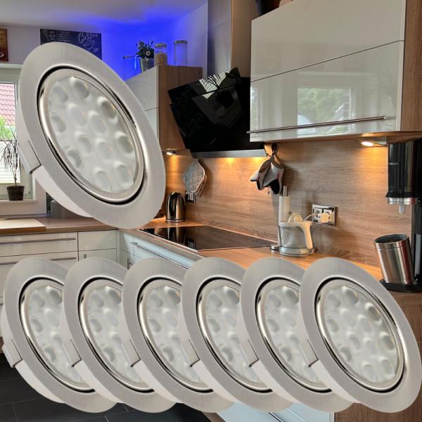 7 Stück LED Möbel Einbauleuchten 12V   3W   Einbautiefe 12mm   Loch = 55 - 60 mm