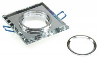 Eckiger Glas Einbaustrahler Laura   LED   230Volt   9Watt   Klarglas