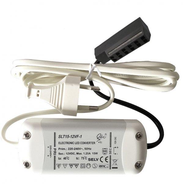 Elektronischer LED Transformator / Treiber / 15W / inkl. Zuleitung und 6-fach Verteiler für AMP Stecker