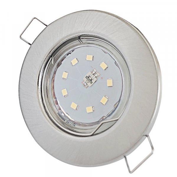 LED Einbaustrahler Tom   Flach   230V   5W   ET-28mm   Edelstahl gebürstet   DIMMBAR
