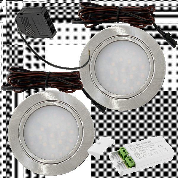 2 Stück Flache LED Möbel-Einbaustrahler Mila  12V - 2,4W - LED Trafo