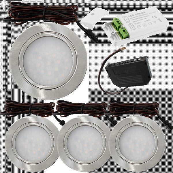 4 Stück Flache LED Möbel-Einbaustrahler Mila  12V - 2,4W - LED Trafo