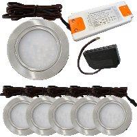 6 Stück Flache LED Möbel-Einbaustrahler Mila...