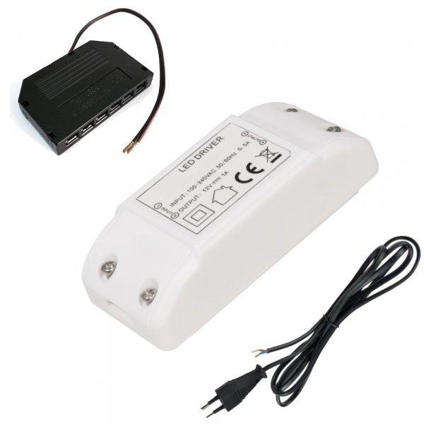 Elektronischer LED Transformator 12W mit Miniverteiler 230V Zuleitung