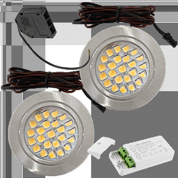 2 Stück Flache LED Möbel Einbaustrahler Mira - 12V - 2,4W - Loch 58 - 60mm