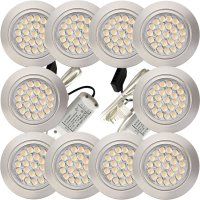 10 Stück Flache LED Möbel Einbaustrahler Mira - 12V - 2,4W - Loch 58 - 60mm
