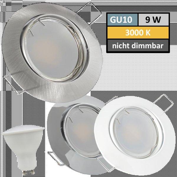 9 Watt LED Einbaustrahler Jan | 900 Lumen | 230Volt | Gu10 Fassung | IP20