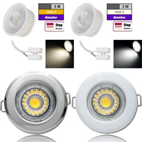 Flacher MCOB LED Einbaustrahler Tom   230V   5W   STEP DIMMBAR   ET=30mm
