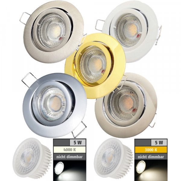 Flacher COB LED Modul Einbaustrahler Timo - 230Volt - 5Watt - ET=32mm