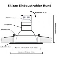 DIMMBAR / LED Einbaustrahler Tomas / 230Volt / 7Watt / 540Lumen / Gu10