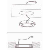3 Stück Flache LED Möbel-Einbaustrahler Mila  12V - 2,4W - LED Trafo - 230V Zuleitung