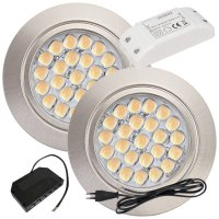2 Stück Flache LED Möbel Einbaustrahler Mira -...