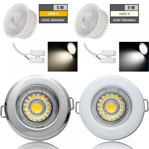 Flacher MCOB LED Einbaustrahler Tom | 230V | 5W | ET=30mm
