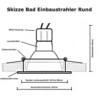 3W LED Bad Einbaustrahler Marina | 12V | IP44 | Rund |...