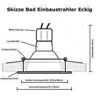 3W LED Bad Einbaustrahler Marin | 12V | IP44 | Eckig |...
