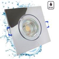 3W LED Bad Einbaustrahler Marin   12V   IP44   Eckig   Klares Schutzglas   Ohne Transformator