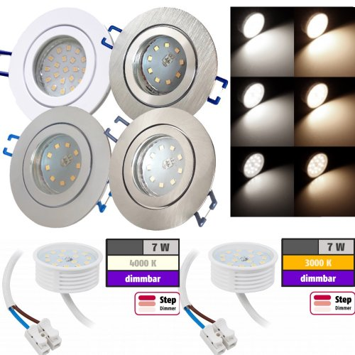 LED Einbauleuchte Marina / 230V / 7W / STEP DIMMBAR / ET = 32mm / IP44