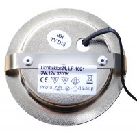 2er Set / Flache LED Einbauspots Lina / 12Volt / 3W / LED Trafo / 230V Netzkabel mit Schnurschalter