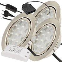 3er Set / Flache LED Einbauspots Lina / 12Volt / 3W/  LED...