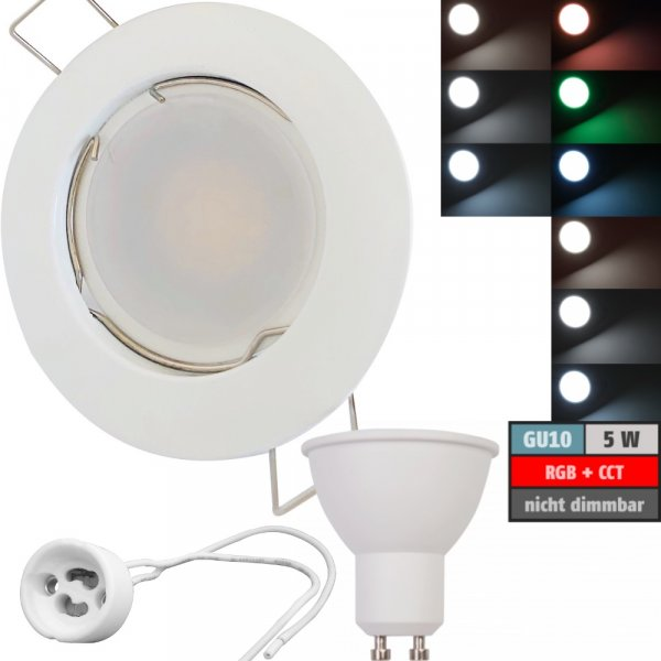 LED Einbaustrahler Tom | 230V | 5W | Smart Wifi | RGB + CCT | Weiss | GU10