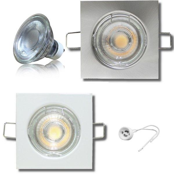 MCOB LED Einbaustrahler Tom / 230V / 7Watt / Eckig / Silber / Weiss