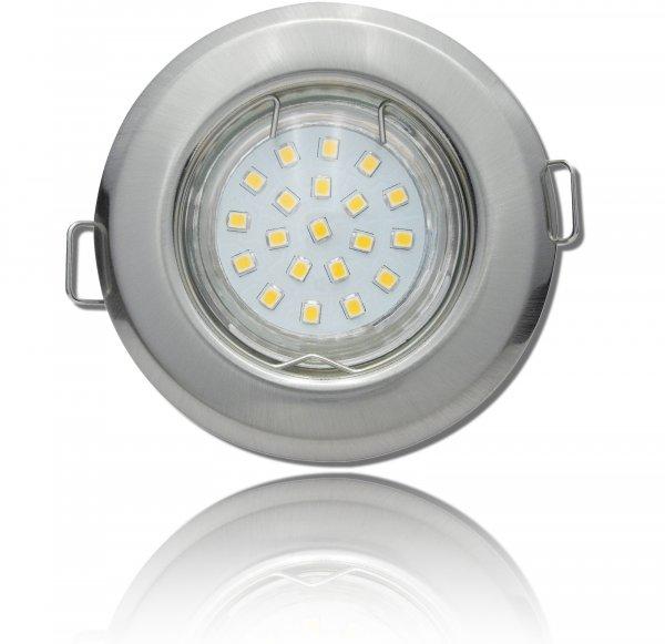 SMD LED Einbaustrahler Tom / 230Volt / 7Watt / 470Lumen / Silber