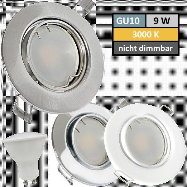 9 Watt LED Einbaustrahler Tomas | 900 Lumen | 230Volt | Gu10 Fassung | IP20