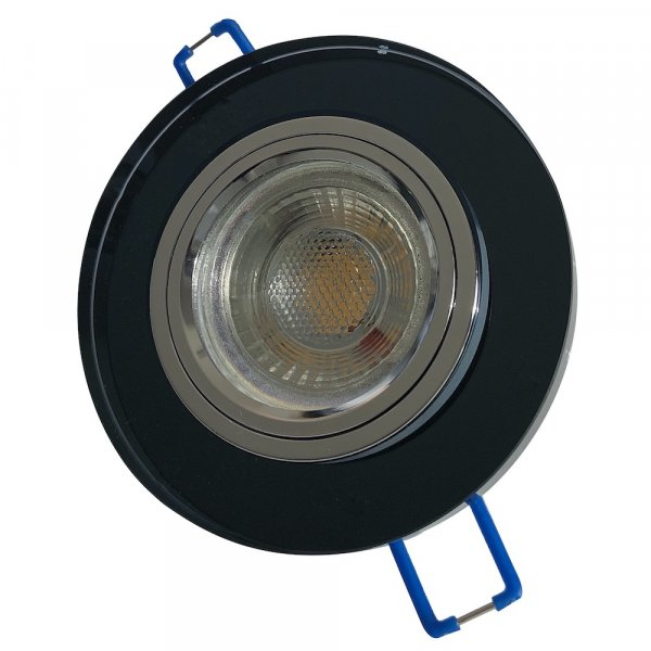 Runder Glas Einbaustrahler Laura | LED | 230Volt | 5Watt | Starr | Schwarz