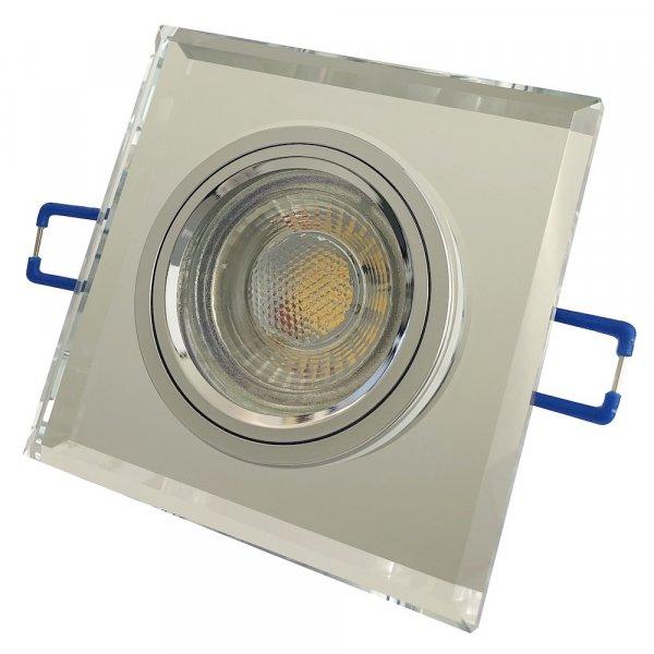 Eckiger Glas Einbaustrahler Laura   LED   230Volt   5Watt   Starr   Klarglas