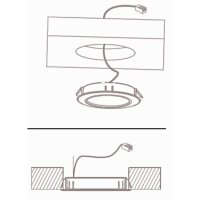 2 Stück - Flache LED Möbel Einbauleuchte Mila 12V - 2,4W - Trafo -  230V Zuleitung mit Schnurschalter