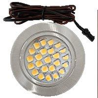 3 Stück Flache LED Möbel Einbaustrahler Mira - 12V - 2,4W - LED Trafo - 230Volt Zuleitung mit Schnurschalter