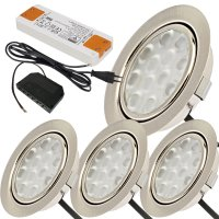 4er Set / Flache LED Einbauspots Lina / 12Volt / 3W /...